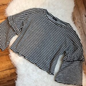 NastyGal Stripe Bell Sleeve Crop Shirt